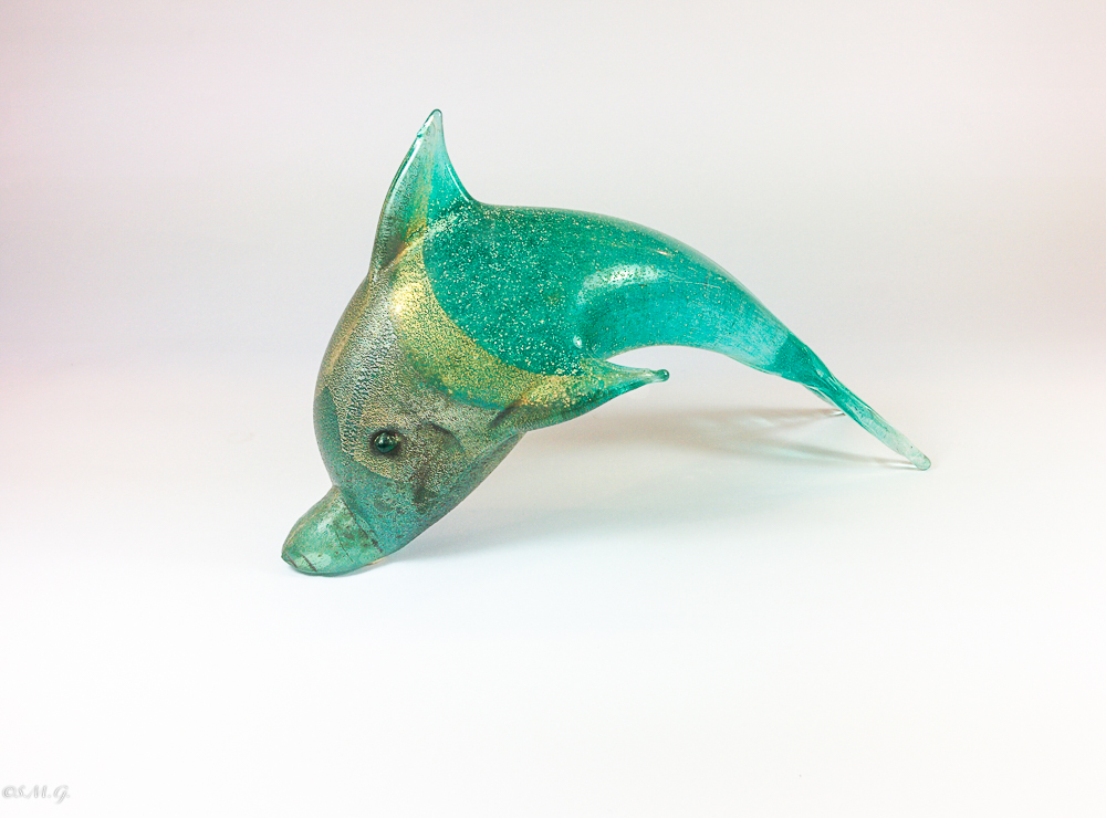 Murano Glass dolphin with silver and gold