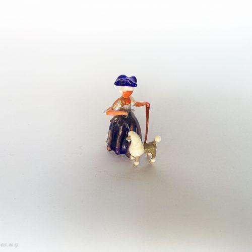 Miniatura di vetro di Murano con donna e barboncino