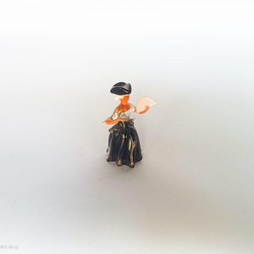 Murano glass miniature of a lady holding a fan