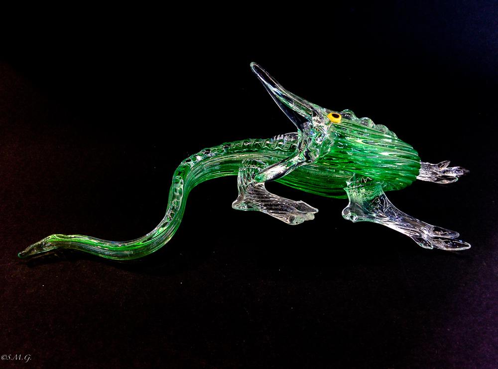 Green Murano Glass crocodile