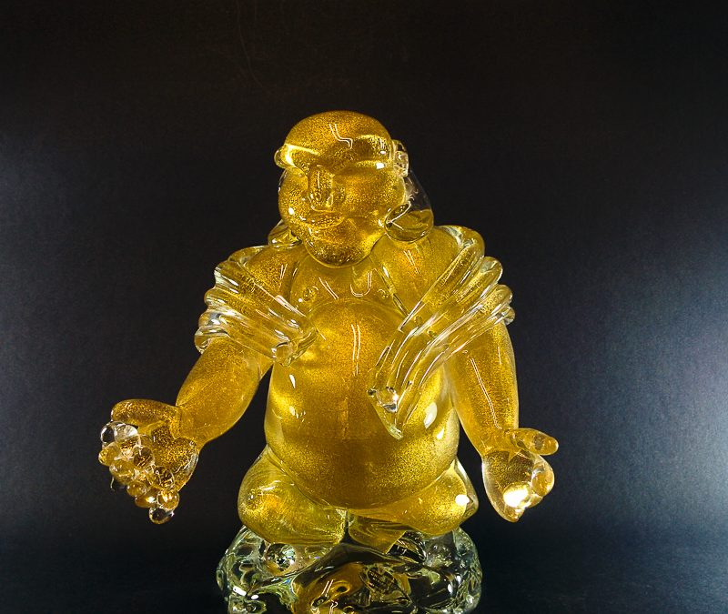 Murano Glass Buddha with 24k gold