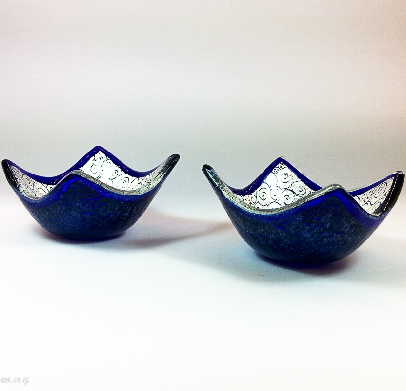 2 Murano Glass blue bowls with silver leaf and engravings