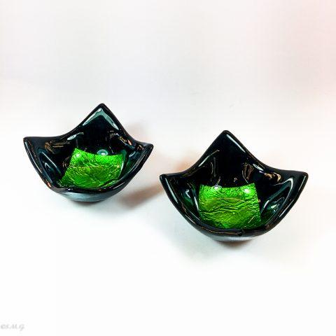 Due ciotole nere in vetro di Murano con foglia argento