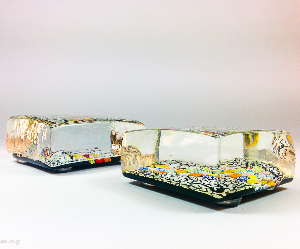 Murano Glass paperweights with silver and murrina