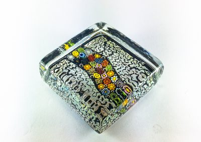 Murano Glass paperweight with silver and murrina