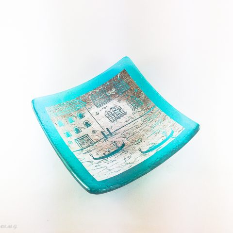 Square Murano Glass plate with silver and engraving