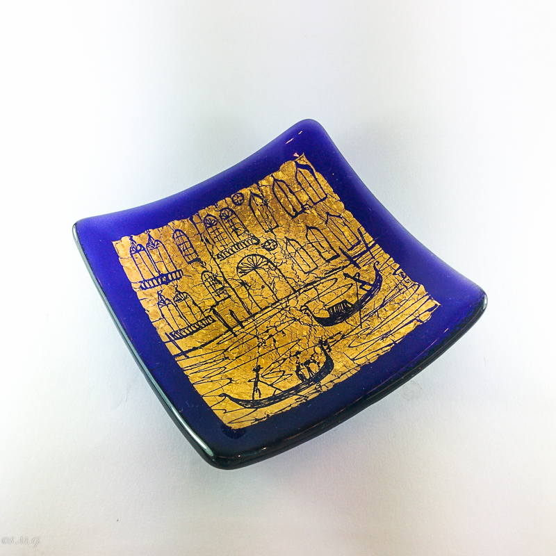 Blue Murano Glass plate with gold and engravings