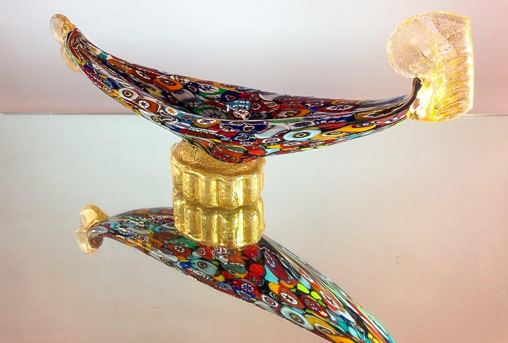 Murano Glass gondola with murrina and gold