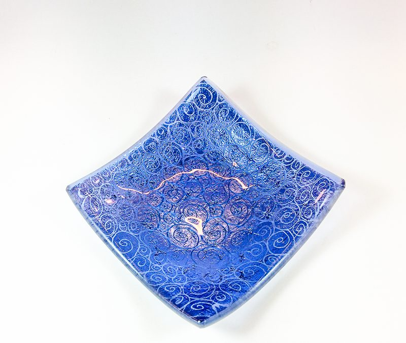 Square Murano Glass plate with engravings