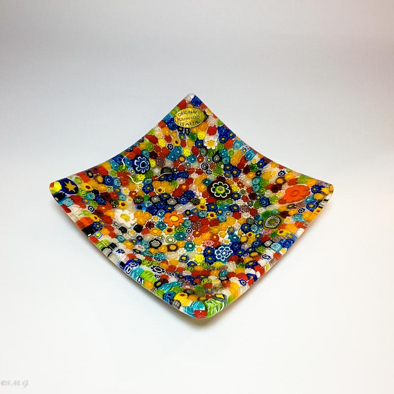 Murano Glass plate with murrina