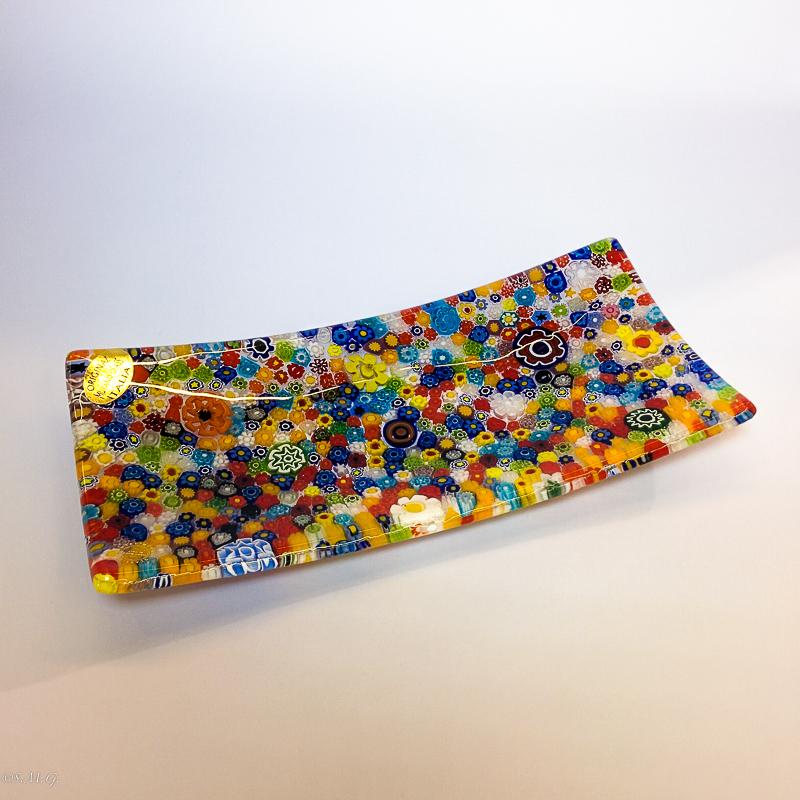 Murano Glass rectangular plate with murrina