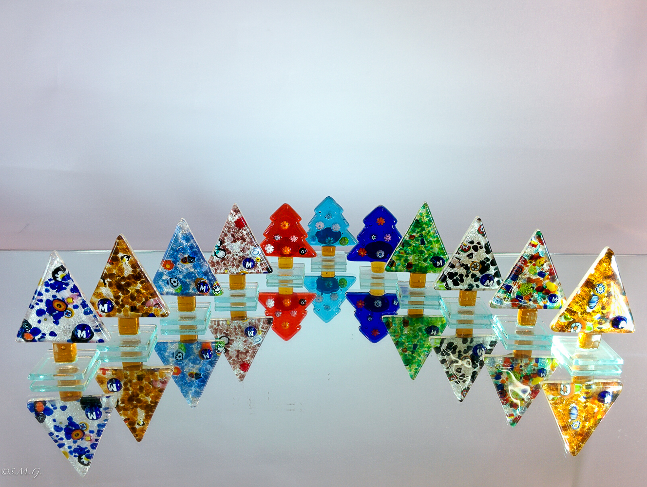 Murano Glass Christmas trees on a base