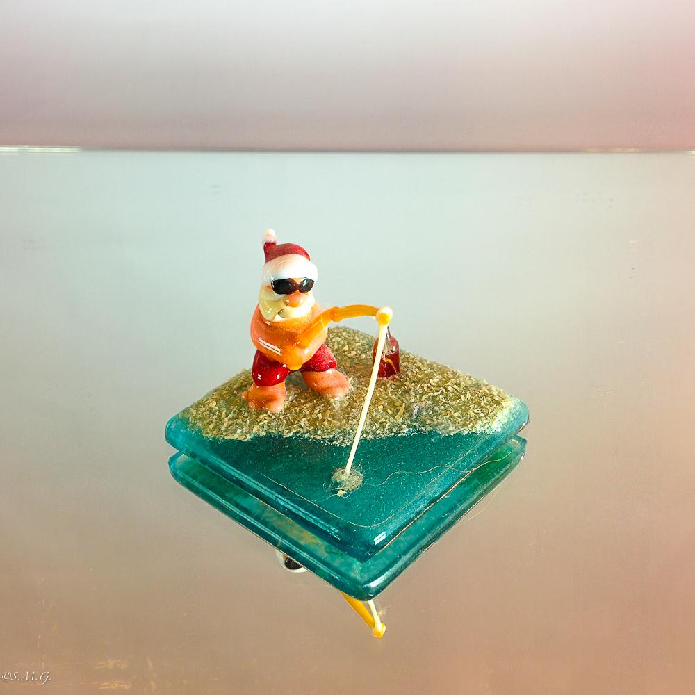 Murano Glass Santa Claus fishing on the beach