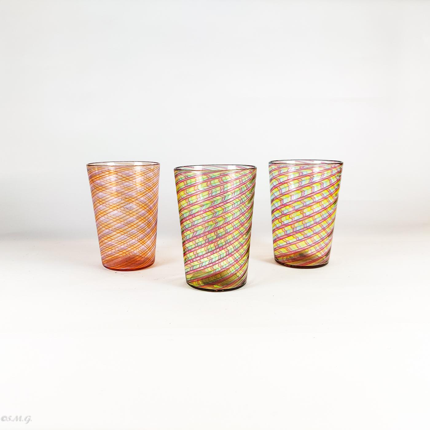 3 Bicchieri in vetro di Murano con filigrana