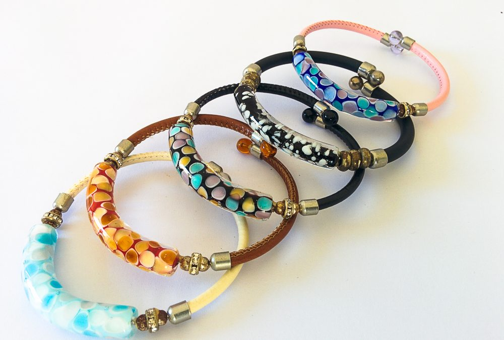 Murano Glass bracelets with spots inside