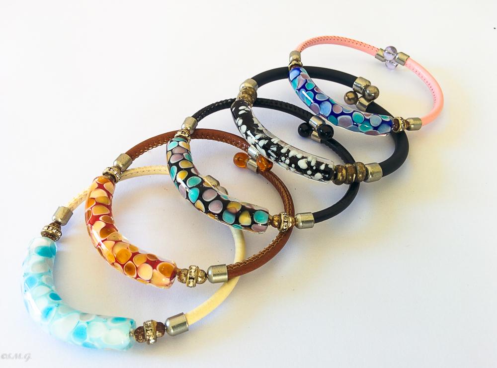 Murano Glass bracelets with spots inside