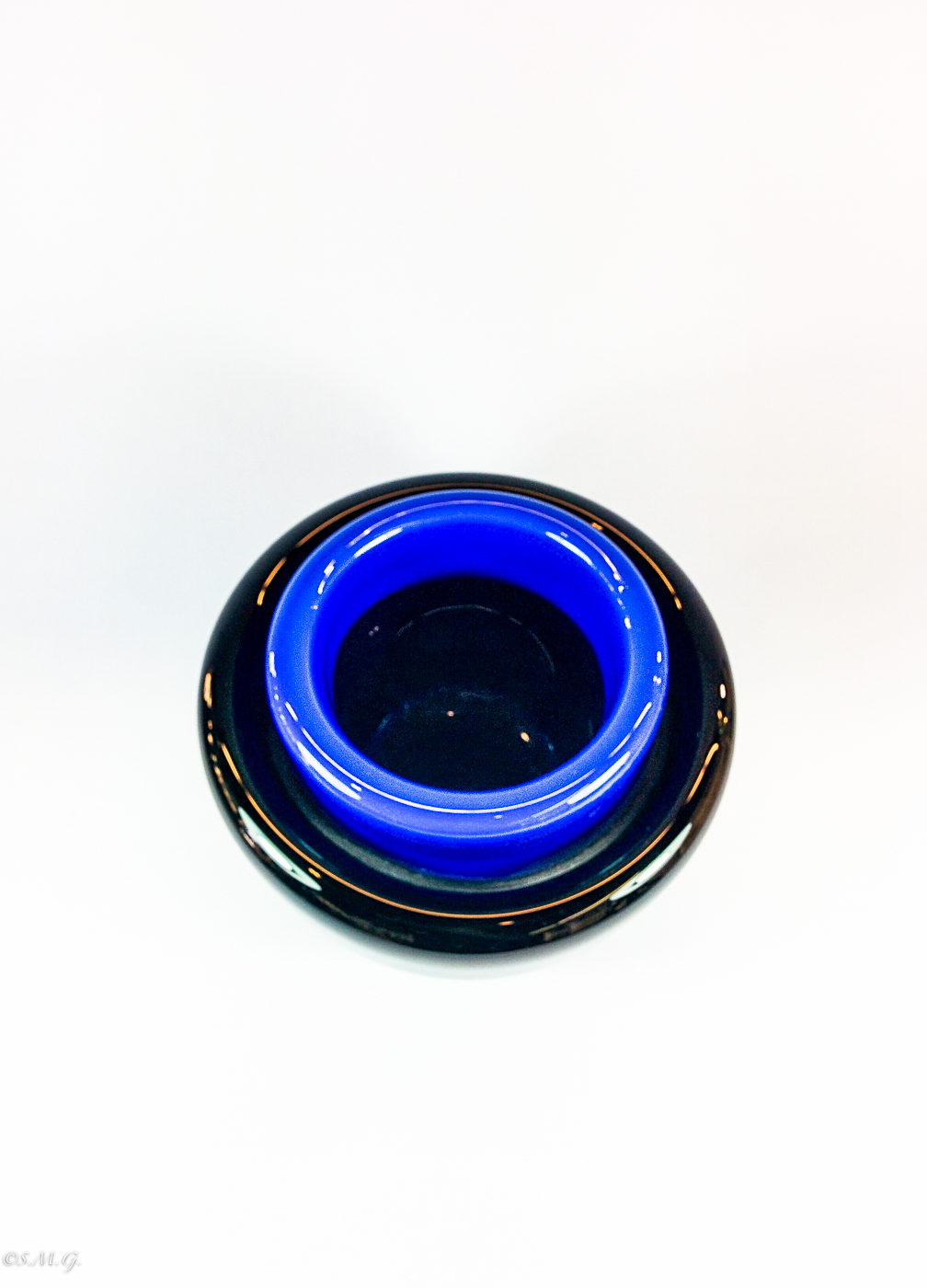 Black an blue Murano glass bowl