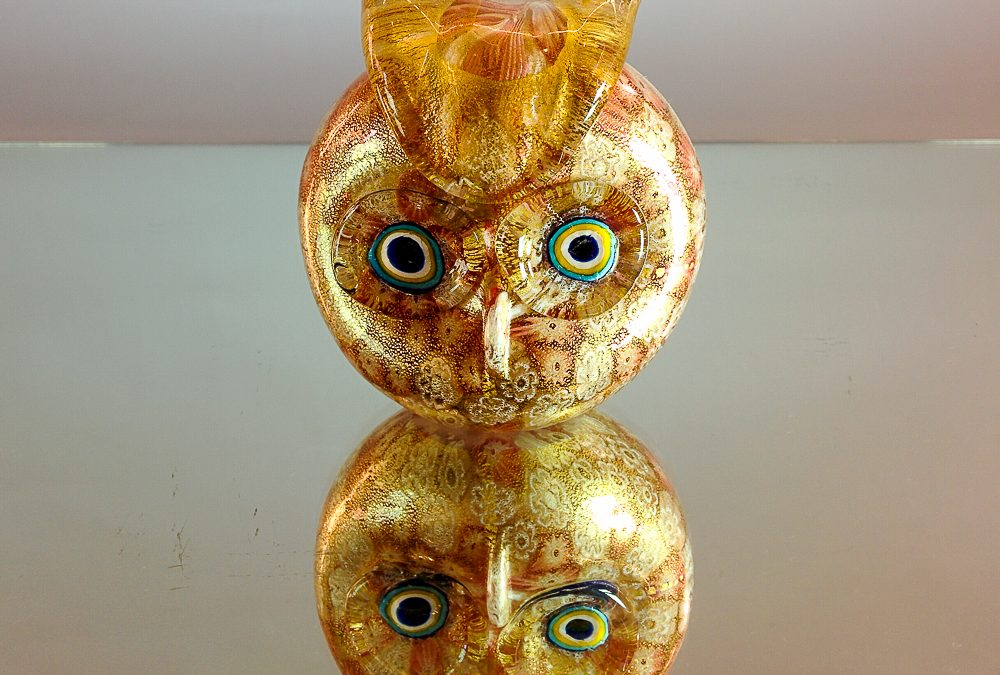 Pink and gold owl with Murrina