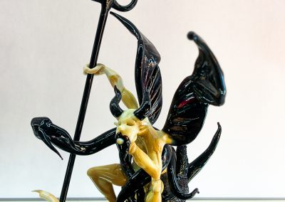 Murano glass devil and demon on a glass base