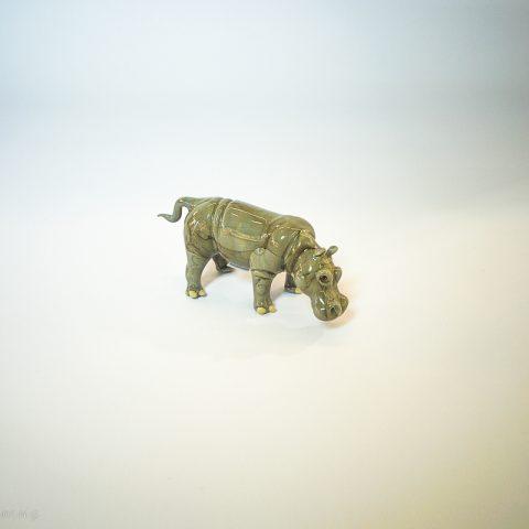 Ippopotamo in vetro di Murano grigio