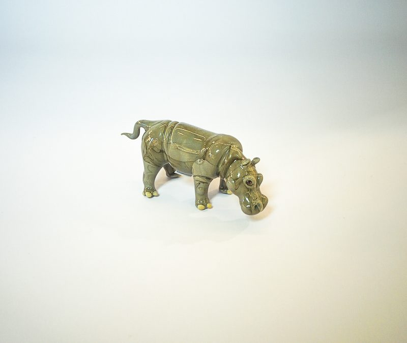 Grey Murano glass hippopotamus