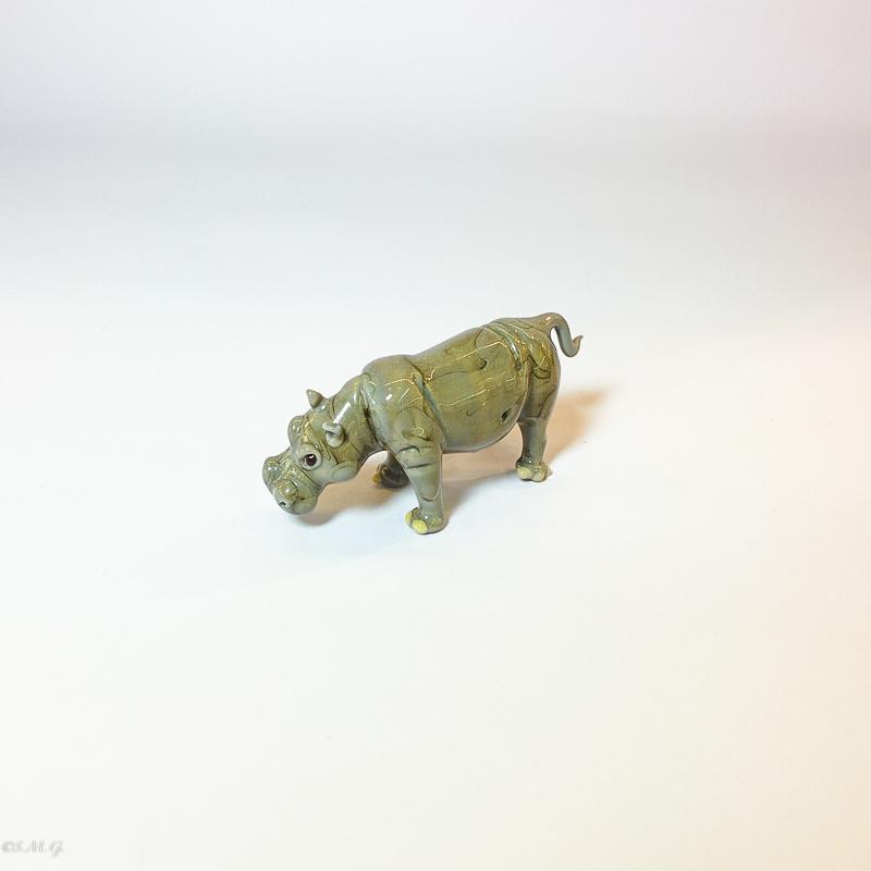 Grey Murano glass hippopotamus