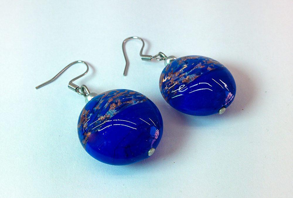 Blue Murano Glass earrings with avventurina