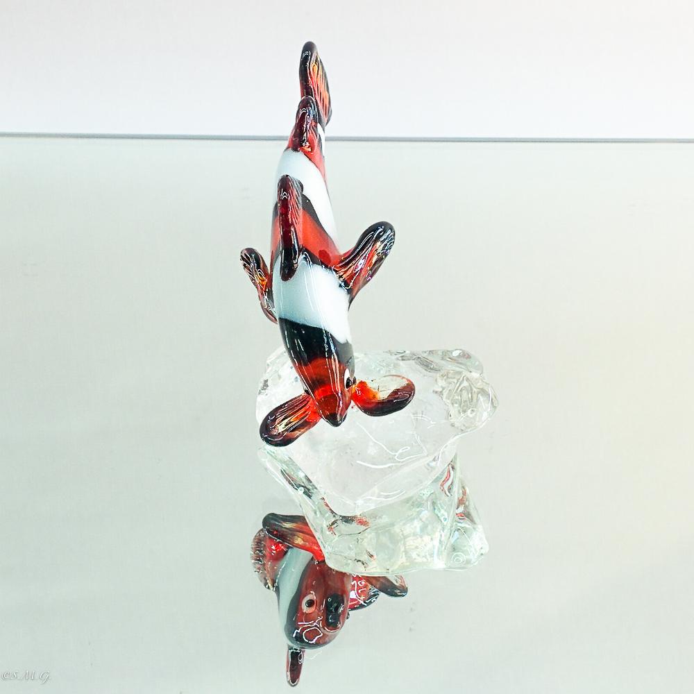 Murano Glass clownfish on a glass base