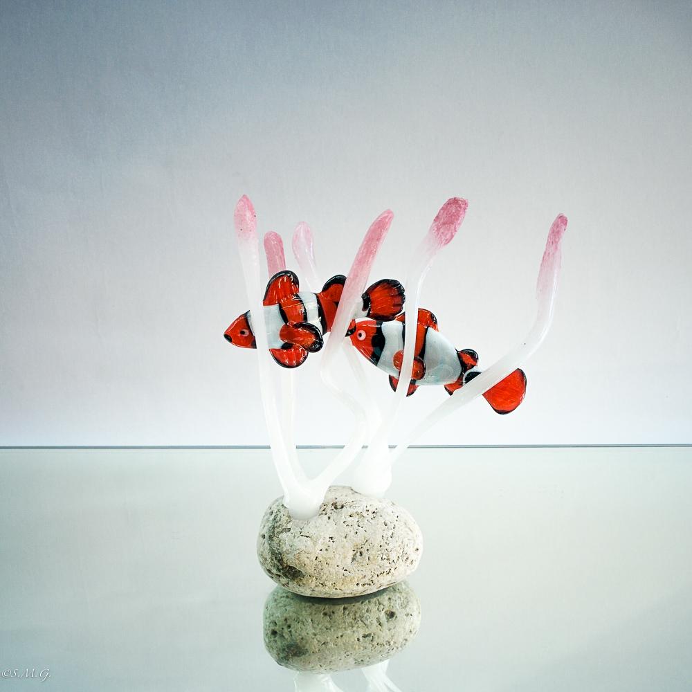 Murano Glass clownfish among corals