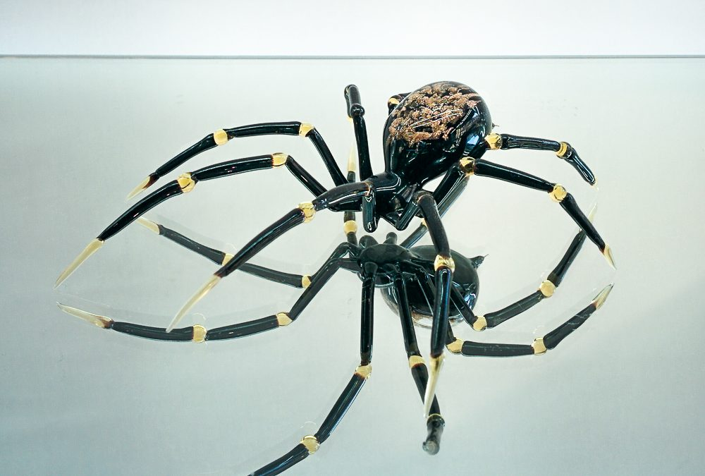 Big size Murano glass spider with avventurina