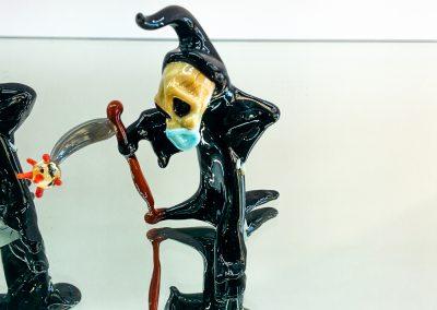 Murano Glass grim reaper with deatscythe killing Coronavirus