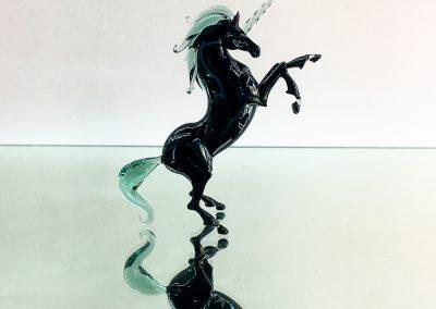 Murano Glass black unicorn