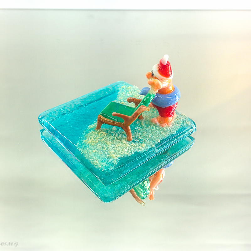 Murano Glass Santa Claus with a beach chari