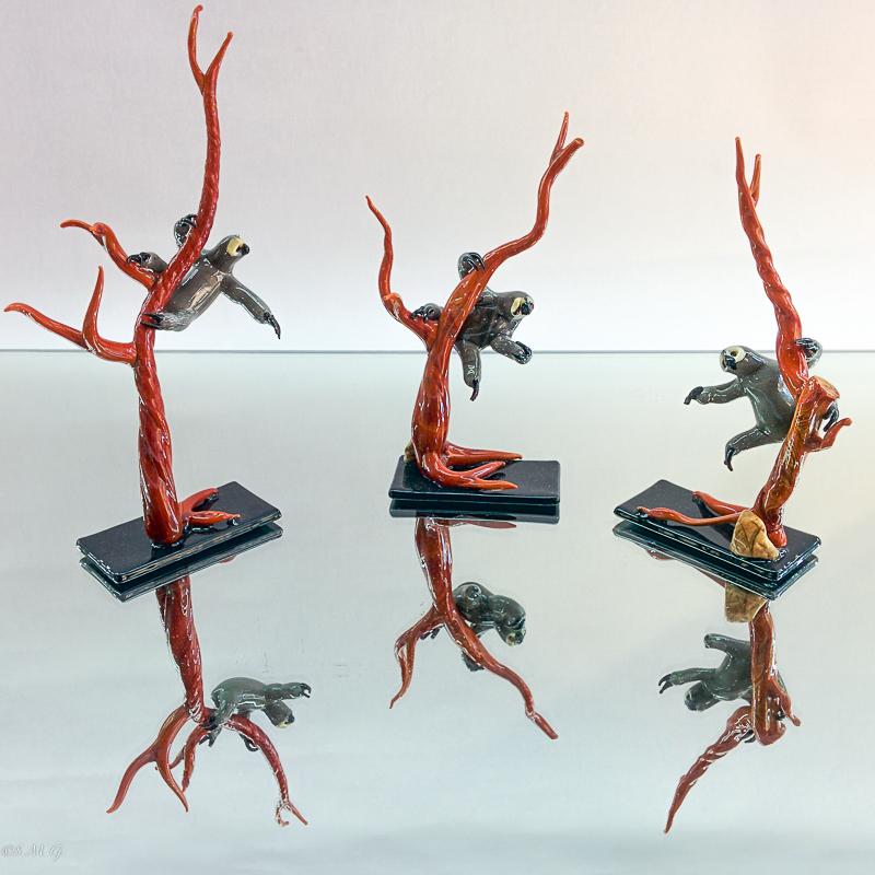 Murano Glass sloths on trees