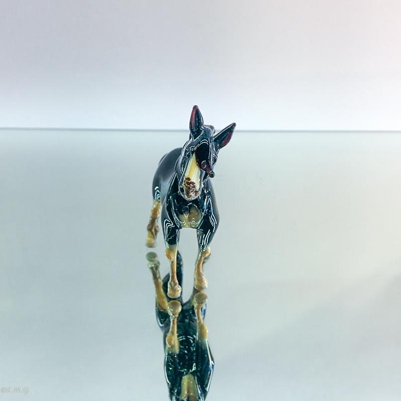Murano Glass black and white horse