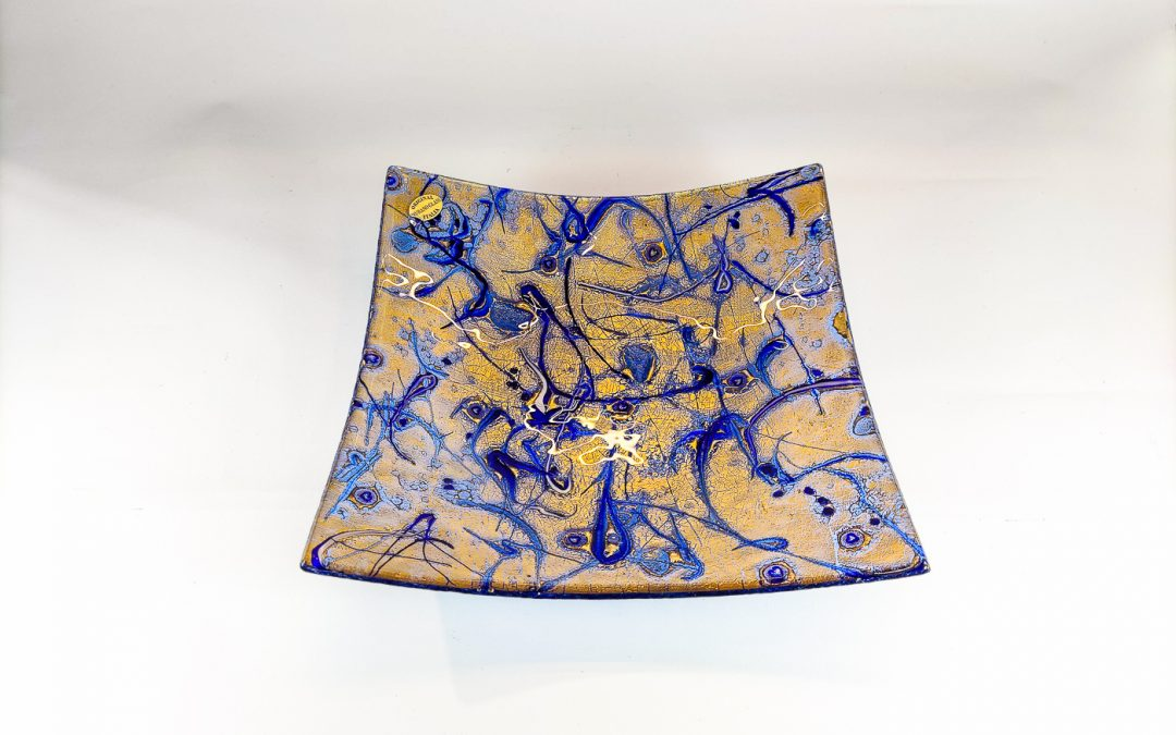 Blue Murano Glass plate with gold
