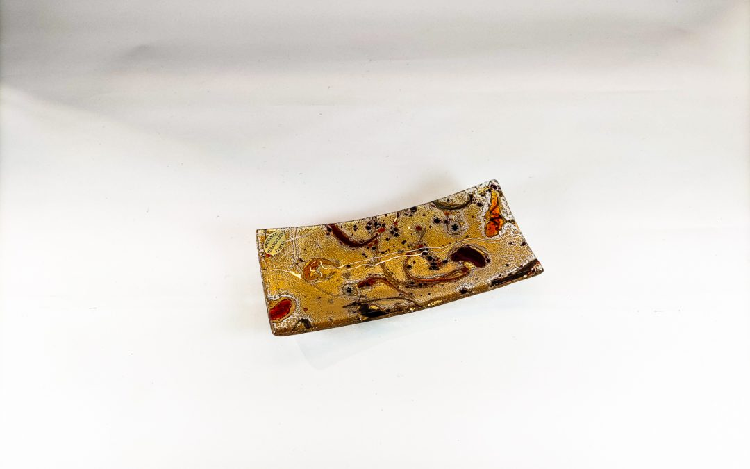 Rectangular Murano Glass plate with gold and red