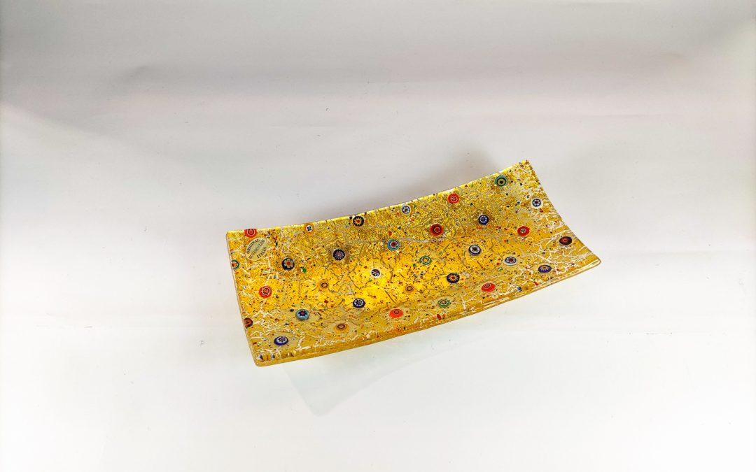 Rectangular Murano Glass plate with gold and murrina inside