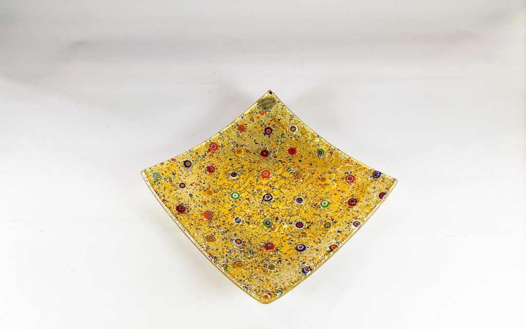 Square plate 21 x 21 golden collection
