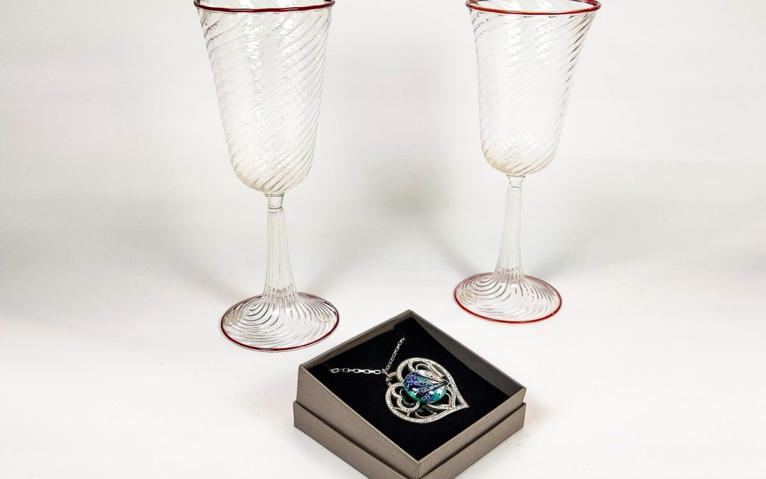 2 Murano Glass chalices and a heart shaped pendant