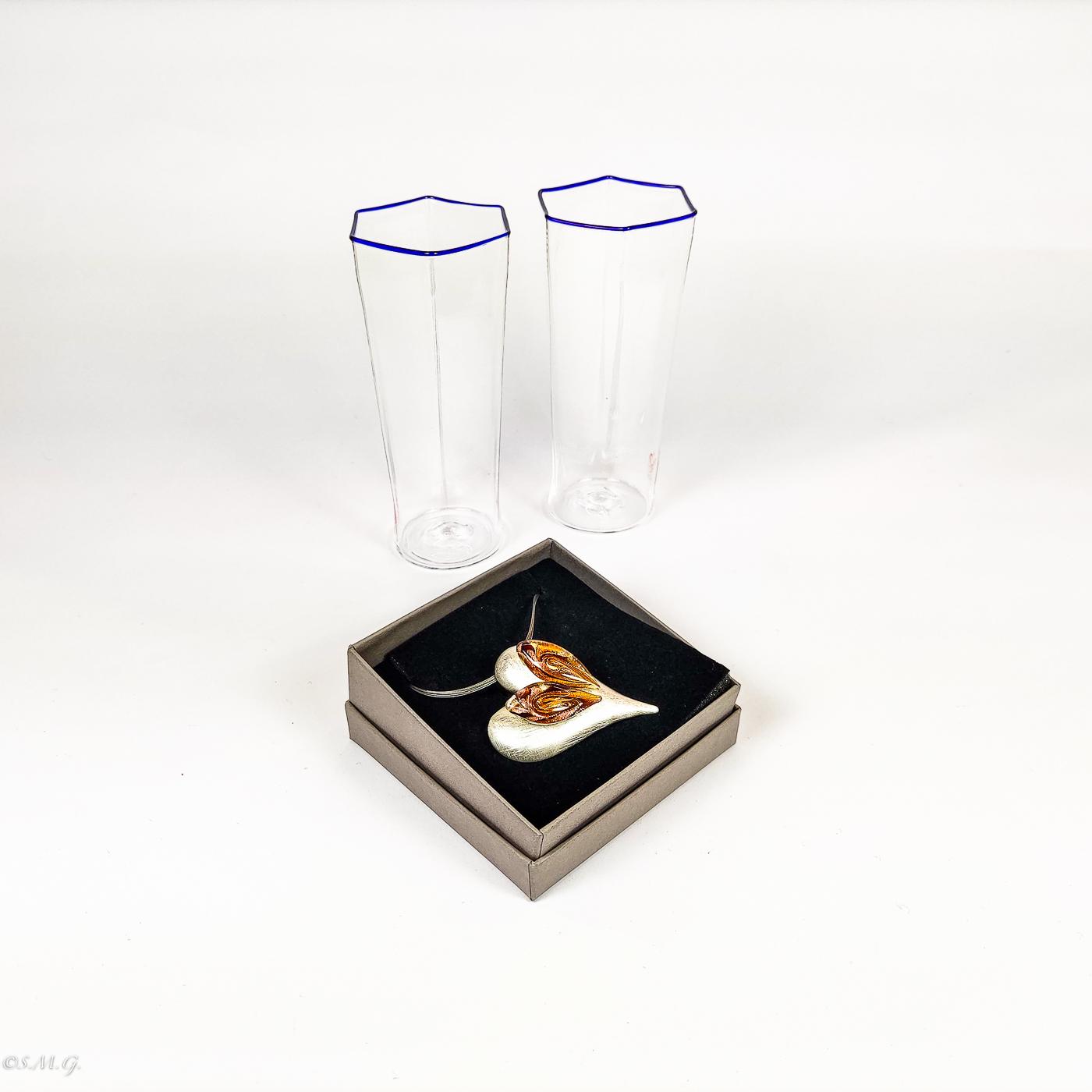 2 hexagonal Murano Glass tumblers and heart shape pendant