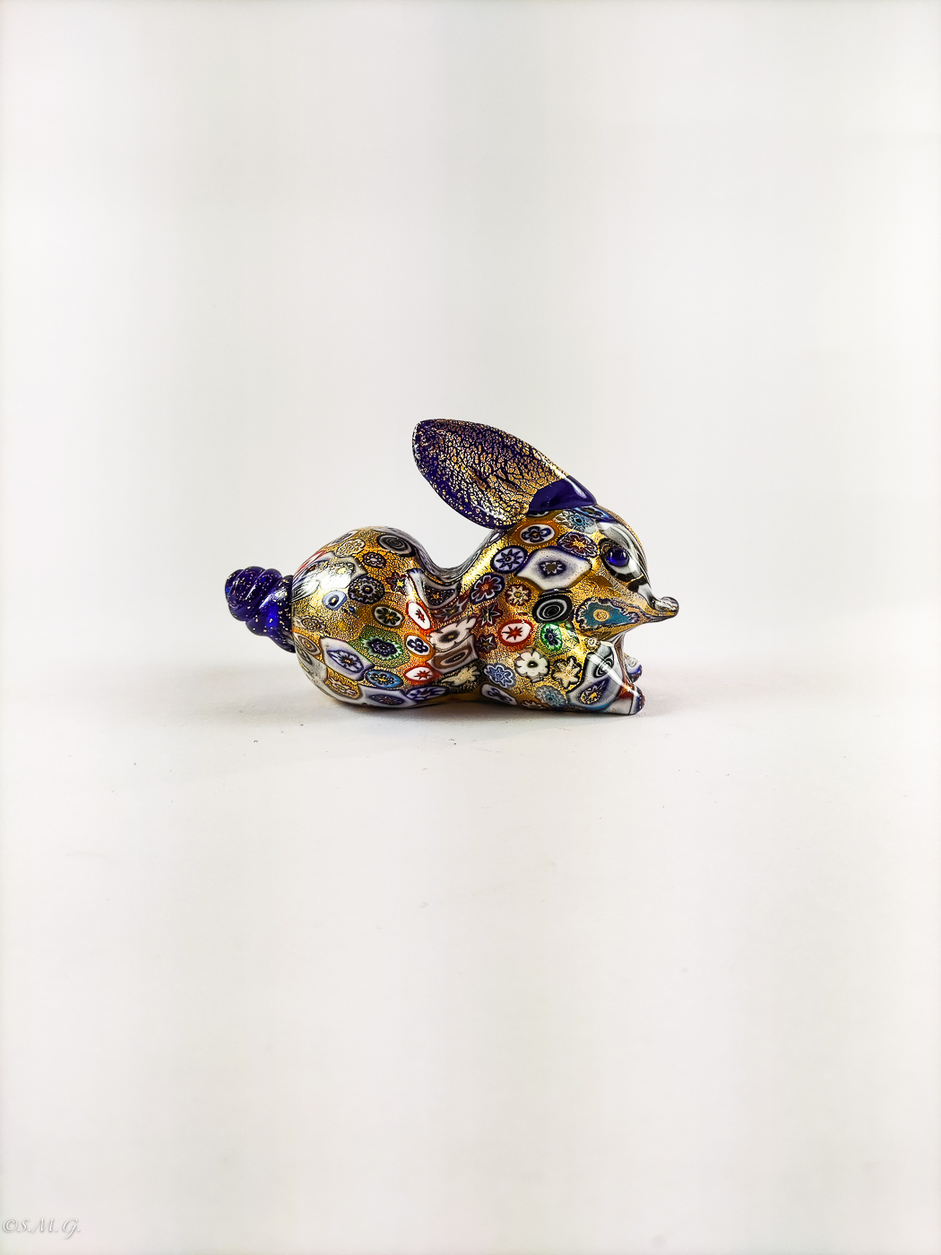 Blue Murano Glass rabbit with gold