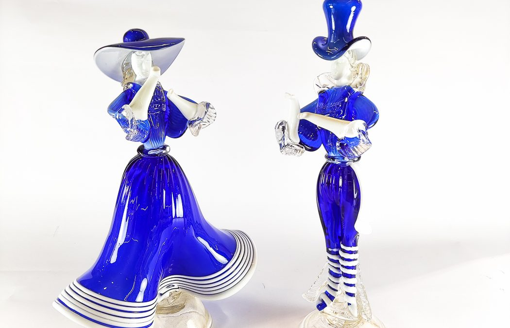 Couple of blue Murano Glass male and female figures