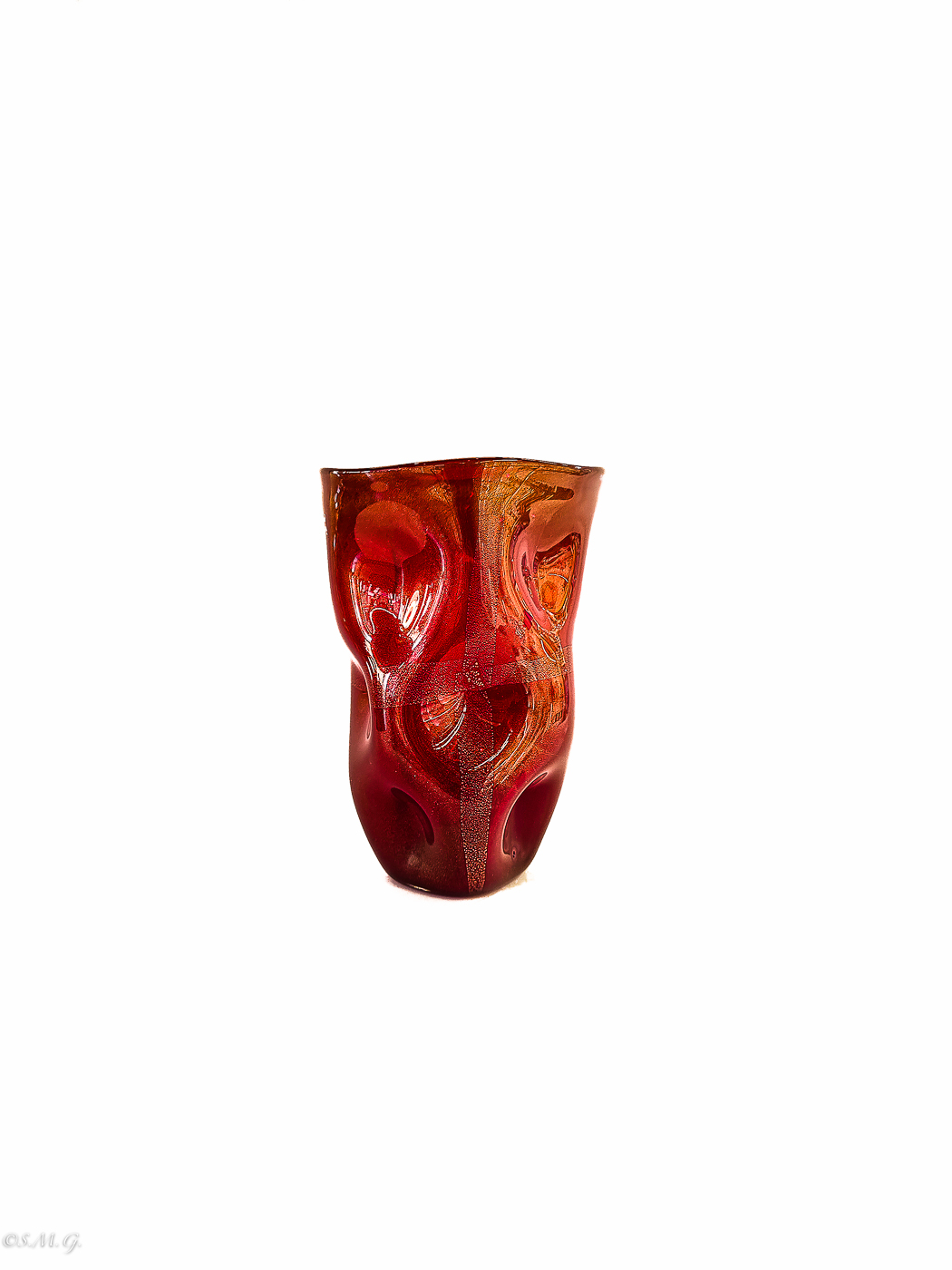 Murano Glass red vase with gold