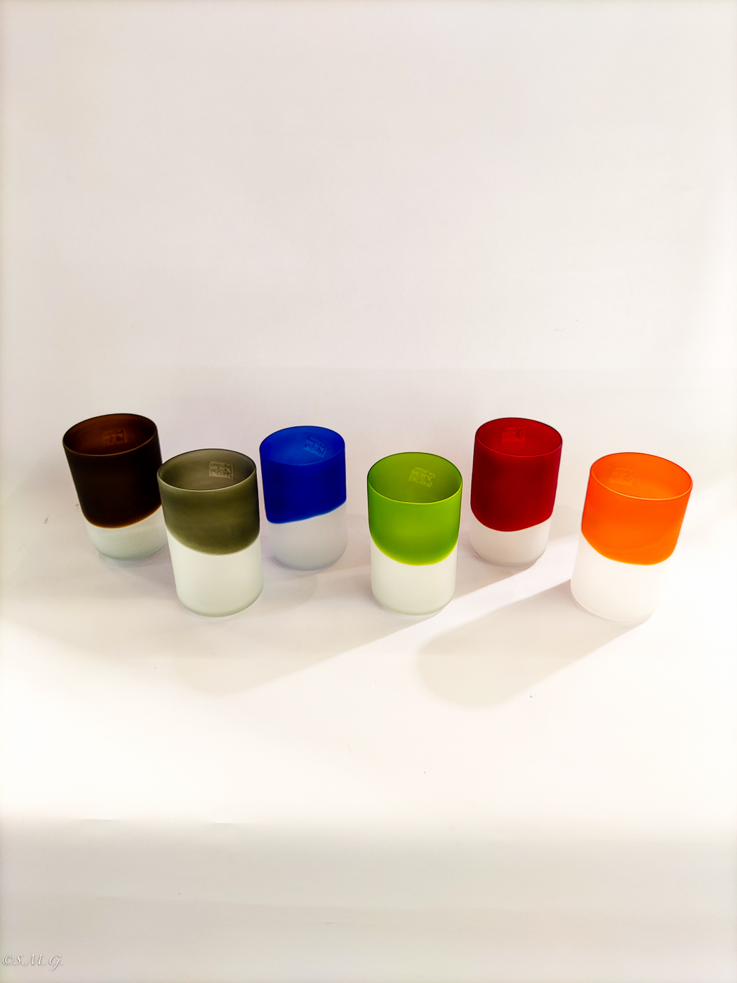 Set of 6 Murano Glass glazed tumblers