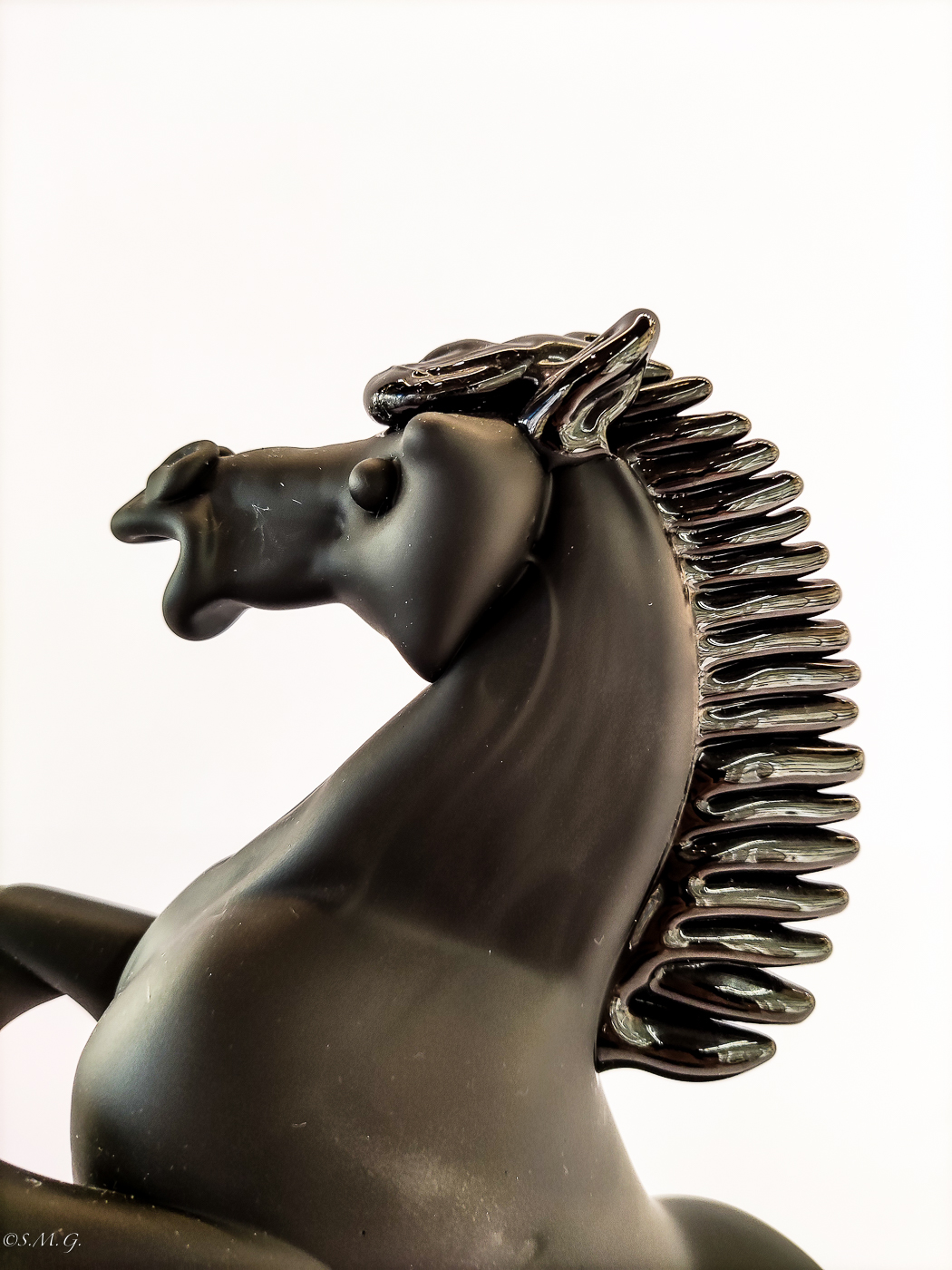 Murano Glass prancing horse made with black satinee glass